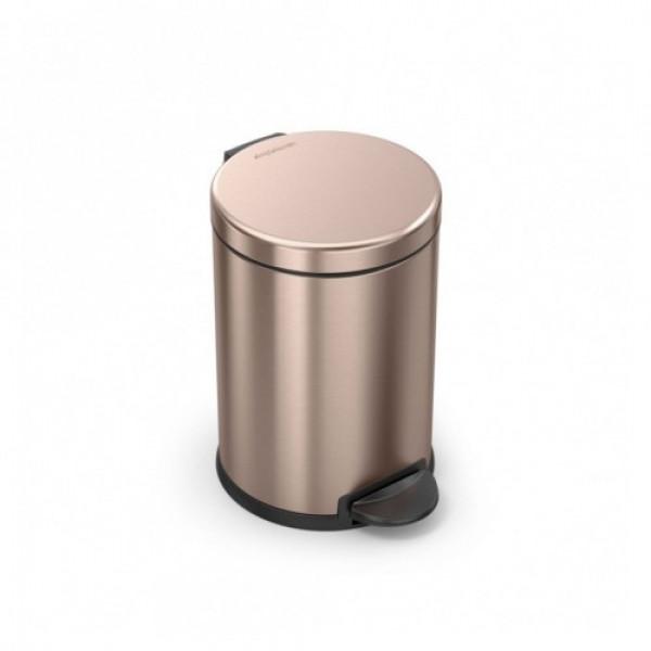 Урна с педалью круглая золотисто-розовая 4.5л CW2056