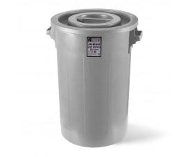 Сміттєвий бак INDUSTRIAL з круглою кришкою сірий пластик 90л JCK 101