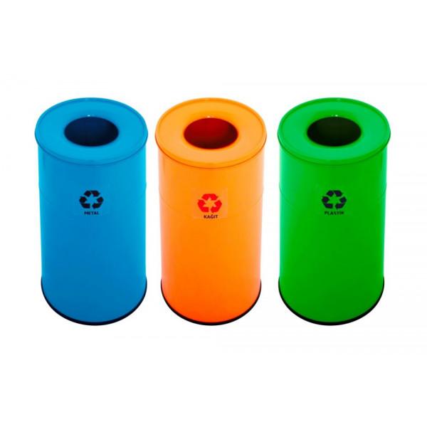 Корзины для сортировки мусора металлические 45л 3 цвета 1321