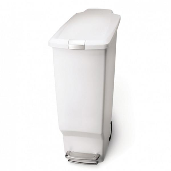 Урна для мусора с педалью 40л. белая SLIM CW1362