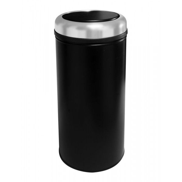 Корзина металлическая с поворотной крышкой PRACTICAL чёрная 45л 807S