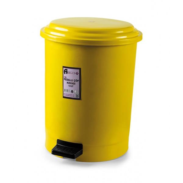 Корзина для мусора с педалью жёлтый пластик 12л PK-12 105