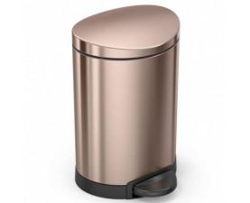Урна с педалью полукруглая золотисто-розовая 6л CW2057