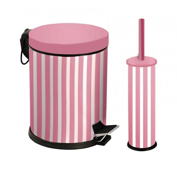 Набор для ванной металл розовый (корзина 5л + щётка микро) 971