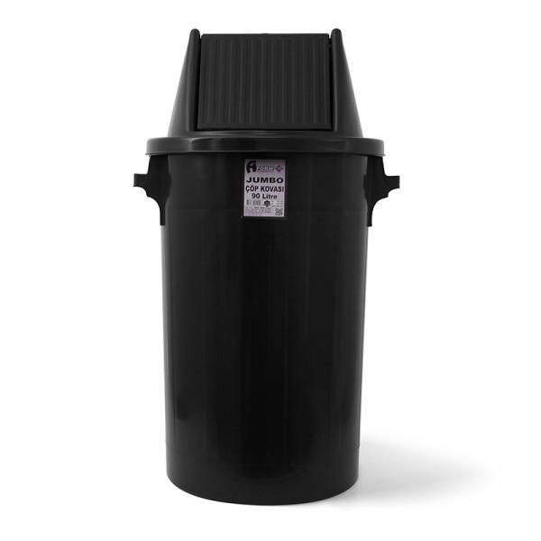 Мусорный бак типа буфет с поворотной крышкой чёрный пластик 90л BCK 103