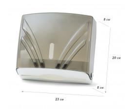 Диспенсер для бумажных полотенец Z 3-сложений чёрный прозрачный пластик ZHA-2 109