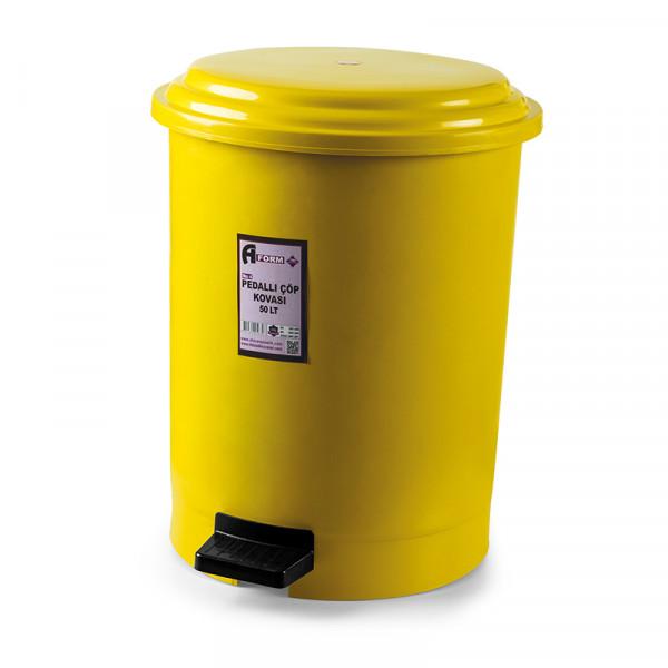 Корзина для мусора с педалью жёлтый пластик 50л PK-50 105