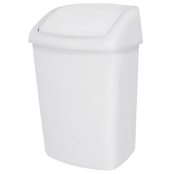 Корзина белый пластик с поворотной крышкой 10л 8991083