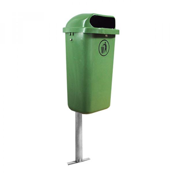 Урна уличная зелёная со стойкой 50л J0051 GNGN