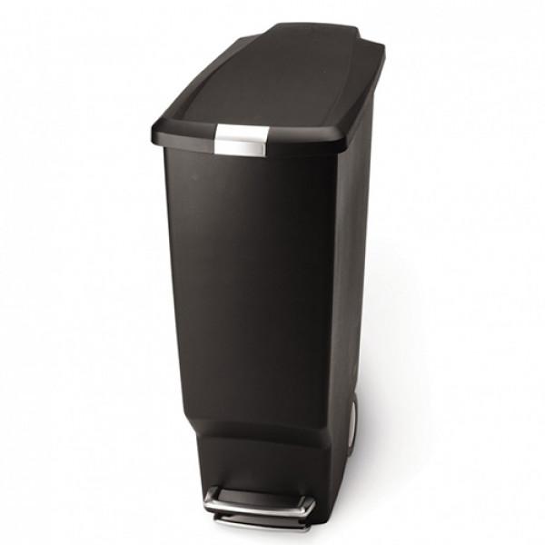 Урна для мусора с педалью 40л. чёрная SLIM CW1361