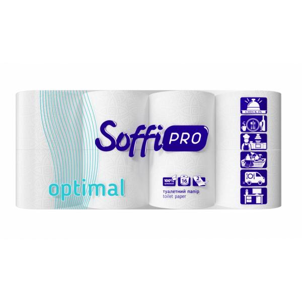 Туалетная бумага стандарт целлюлозная белая SoffiPRO Optimal STP 15м