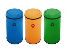 Корзины для сортировки мусора металлические с поворотной крышкой 45л 3 цвета 1322