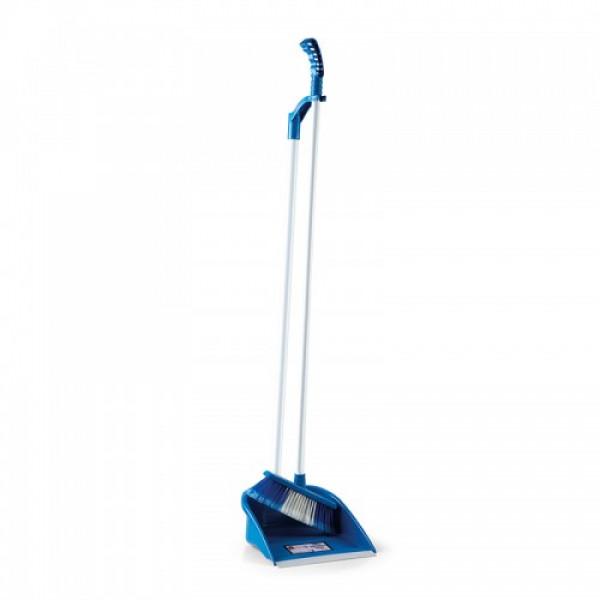 Комплект для подметания, совок и щётка с изящной ручкой синий LSF 111B