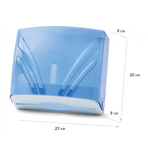 Диспенсер для бумажных полотенец Z 3-сложений голубой прозрачный ZHA-2 108