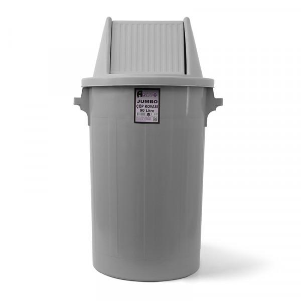 Мусорный бак типа буфет с поворотной крышкой серый пластик 90л BCK 101