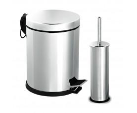 Набор для ванной из нержавеющей стали глянец (корзина 3л + щётка микро) 477