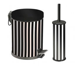 Набор для ванной металл чёрно-белый (корзина 5л + щётка микро) 972