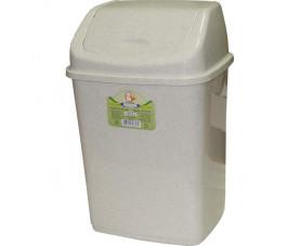 Ведро для мусора с крышкой белый флок 122065