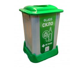 Контейнер для сортировки мусора (СТЕКЛО), зеленый пластик 50 л с крышкой SAN-50 111